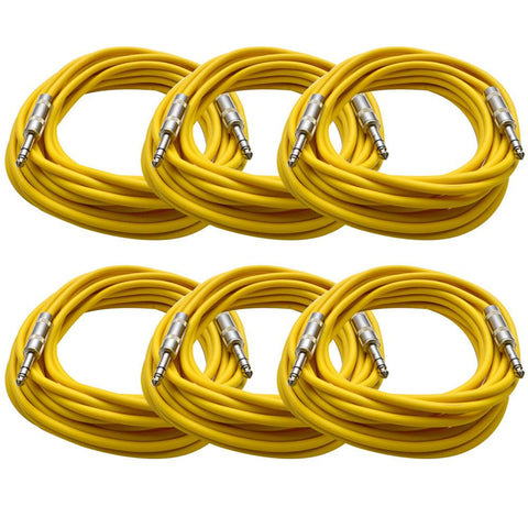 SATRX-25 - 6 Pack of Yellow 25 Foot TRS Patch Cables
