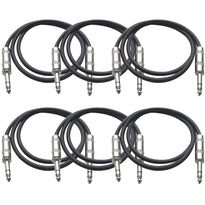 SATRX-2 - 6 Pack of Black 2 Foot TRS Patch Cables