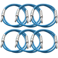 SATRX-3 - 6 Pack of Blue 3 Foot TRS Patch Cables