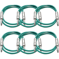 SATRX-3 - 6 Pack of Green 3 Foot TRS Patch Cables