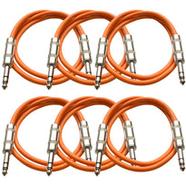 SATRX-2 - 6 Pack of Orange 2 Foot TRS Patch Cables