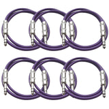 SATRX-2 - 6 Pack of Purple 2 Foot TRS Patch Cables