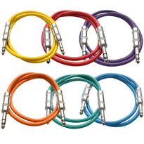 SATRX-2 - 6 Pack of Multiple Colors 2 Foot TRS Patch Cables