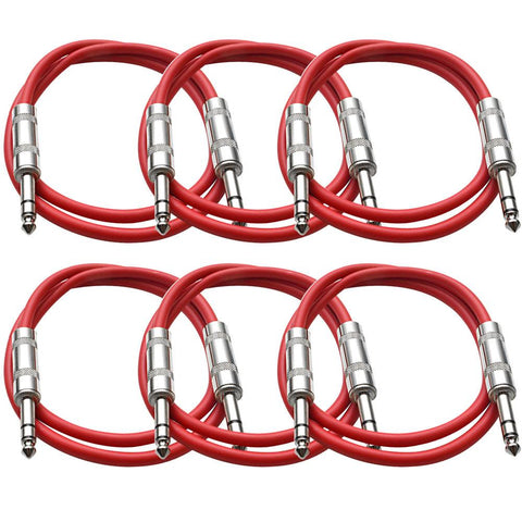SATRX-3 - 6 Pack of Red 3 Foot TRS Patch Cables