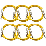 SATRX-3 - 6 Pack of Yellow 3 Foot TRS Patch Cables
