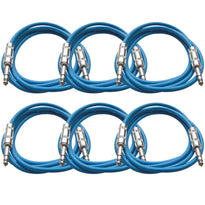 SATRX-6 - 6 Pack of Blue 6 Foot TRS Patch Cables