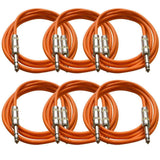 SATRX-6 - 6 Pack of Orange 6 Foot TRS Patch Cables
