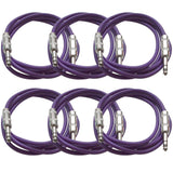 SATRX-6 - 6 Pack of Purple 6 Foot TRS Patch Cables