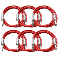 SATRX-6 - 6 Pack of Red 6 Foot TRS Patch Cables