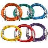 SATRX-6 - 6 Pack of Multiple Colors 6 Foot TRS Patch Cables