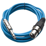 SATRXL-F10 - 6 Pack of Blue 10' XLR Female to TRS Patch Cables