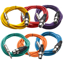 SATRXL-F10 - 6 Pack of Multiple Colors 10' XLR Female to TRS Patch Cables