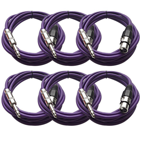SATRXL-F10 - 6 Pack of Purple 10' XLR Female to TRS Patch Cables