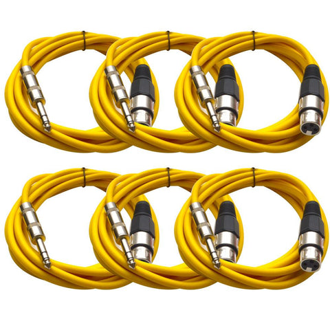 SATRXL-F10 - 6 Pack of Yellow 10' XLR Female to TRS Patch Cables
