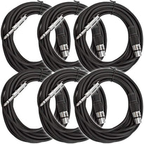SATRXL-F25 - 6 Pack of Black 25' XLR Female to TRS Patch Cables