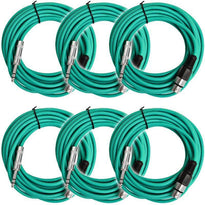 SATRXL-F25 - 6 Pack of Green 25' XLR Female to TRS Patch Cables