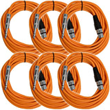SATRXL-F25 - 6 Pack of Orange 25' XLR Female to TRS Patch Cables