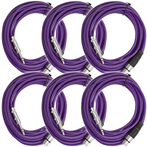 SATRXL-F25 - 6 Pack of Purple 25' XLR Female to TRS Patch Cables