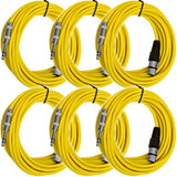 SATRXL-F25 - 6 Pack of Yellow 25' XLR Female to TRS Patch Cables