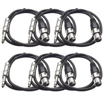 SATRXL-F2 - 6 Pack of Black 2' XLR Female to TRS Patch Cables