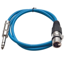 SATRXL-F2 - Blue 2' XLR Female to TRS Patch Cable