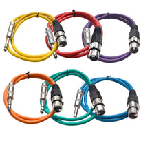 SATRXL-F2 - 6 Pack of Multiple Colors 2' XLR Female to TRS Patch Cables