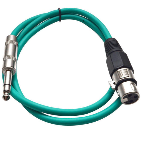 SATRXL-F3 - Green 3' XLR Female to TRS Patch Cable