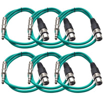 SATRXL-F3 - 6 Pack of Green 3' XLR Female to TRS Patch Cables