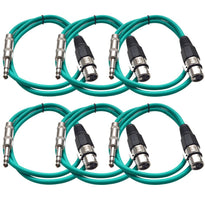 SATRXL-F2 - 6 Pack of Green 2' XLR Female to TRS Patch Cables