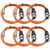 SATRXL-F2 - 6 Pack of Orange 2' XLR Female to TRS Patch Cables