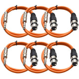 SATRXL-F3 - 6 Pack of Orange 3' XLR Female to TRS Patch Cables