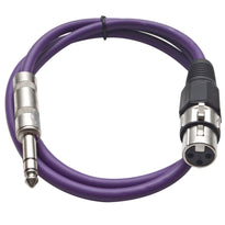 SATRXL-F2 - Purple 2' XLR Female to TRS Patch Cable