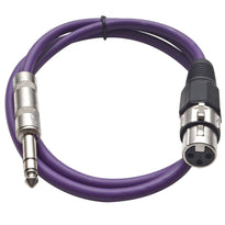 SATRXL-F3 - Purple 3' XLR Female to TRS Patch Cable