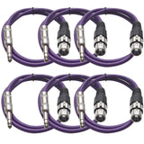 SATRXL-F2 - 6 Pack of Purple 2' XLR Female to TRS Patch Cables