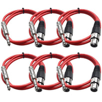 SATRXL-F3 - 6 Pack of Red 3' XLR Female to TRS Patch Cables