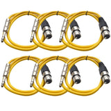 SATRXL-F3 - 6 Pack of Yellow 3' XLR Female to TRS Patch Cables