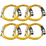 SATRXL-F2 - 6 Pack of Yellow 2' XLR Female to TRS Patch Cables
