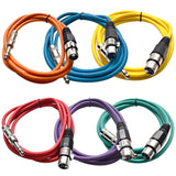 SATRXL-F6 - 6 Pack of Multiple Colors 6' XLR Female to TRS Patch Cables