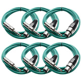 SATRXL-F6 - 6 Pack of Green 6' XLR Female to TRS Patch Cables