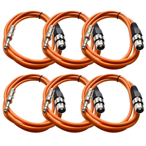 SATRXL-F6 - 6 Pack of Orange 6' XLR Female to TRS Patch Cables