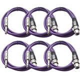 SATRXL-F6 - 6 Pack of Purple 6' XLR Female to TRS Patch Cables