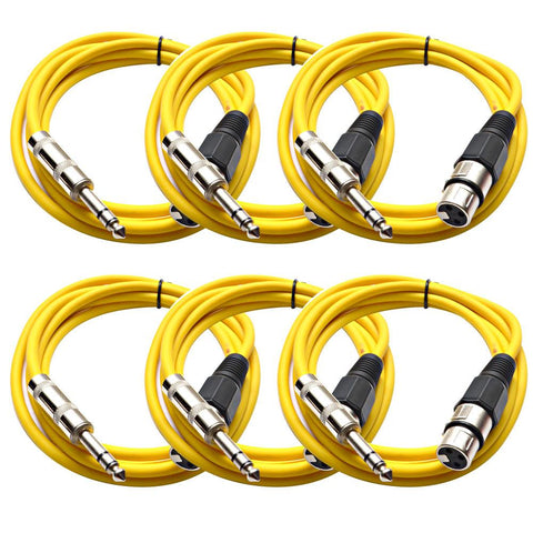 SATRXL-F6 - 6 Pack of Yellow 6' XLR Female to TRS Patch Cables