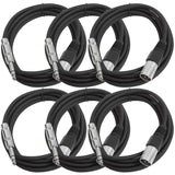 SATRXL-M10 - 6 Pack of Black 10 Foot XLR Male to TRS Patch Cables