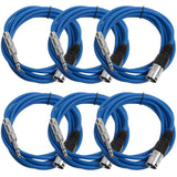 SATRXL-M10 - 6 Pack of Blue 10 Foot XLR Male to TRS Patch Cables