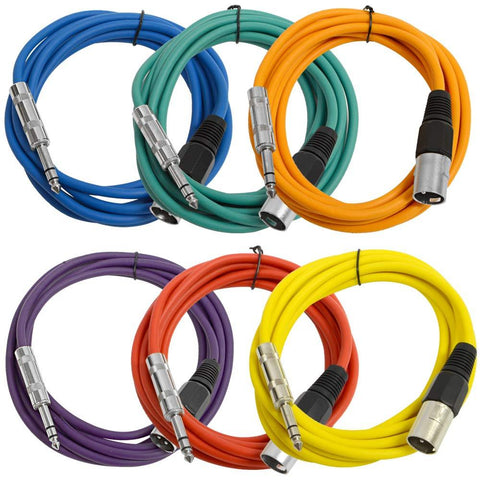 SATRXL-M10 - 6 Pack of Multiple Colors 10 Foot XLR Male to TRS Patch Cables