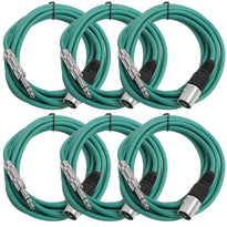SATRXL-M10 - 6 Pack of Green 10 Foot XLR Male to TRS Patch Cables