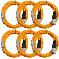 SATRXL-M10 - 6 Pack of Orange 10 Foot XLR Male to TRS Patch Cables