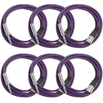SATRXL-M10 - 6 Pack of Purple 10 Foot XLR Male to TRS Patch Cables