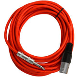SATRXL-M25 - 6 Pack of Red 25 Foot XLR Male to TRS Patch Cables