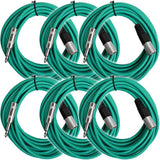 SATRXL-M25 - 6 Pack of Green 25 Foot XLR Male to TRS Patch Cables